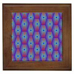Red Blue Bee Hive Pattern Framed Tiles