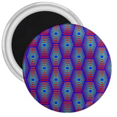 Red Blue Bee Hive Pattern 3  Magnets