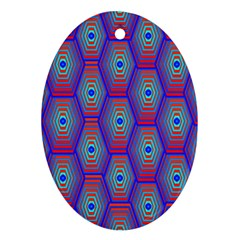 Red Blue Bee Hive Pattern Ornament (oval)