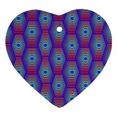 Red Blue Bee Hive Pattern Ornament (heart)