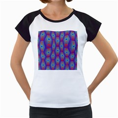 Red Blue Bee Hive Pattern Women s Cap Sleeve T