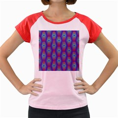 Red Blue Bee Hive Pattern Women s Cap Sleeve T Shirt