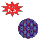 Red Blue Bee Hive Pattern 1  Mini Buttons (100 Pack)