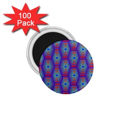 Red Blue Bee Hive Pattern 1 75  Magnets (100 Pack)