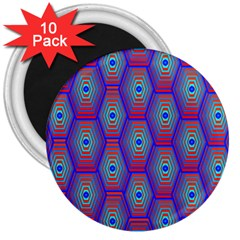 Red Blue Bee Hive Pattern 3  Magnets (10 Pack)