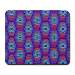 Red Blue Bee Hive Pattern Large Mousepads