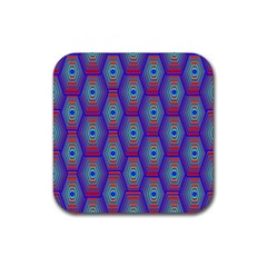 Red Blue Bee Hive Pattern Rubber Square Coaster (4 Pack)