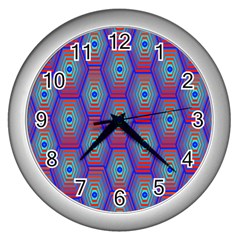 Red Blue Bee Hive Pattern Wall Clocks (Silver)