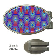 Red Blue Bee Hive Pattern Money Clips (Oval)