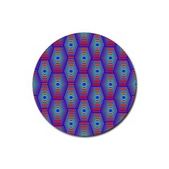 Red Blue Bee Hive Pattern Rubber Coaster (round)