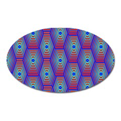 Red Blue Bee Hive Pattern Oval Magnet