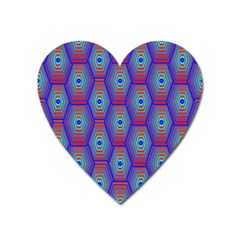 Red Blue Bee Hive Pattern Heart Magnet