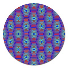 Red Blue Bee Hive Pattern Magnet 5  (round)