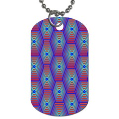 Red Blue Bee Hive Pattern Dog Tag (two Sides)