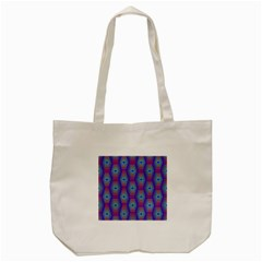 Red Blue Bee Hive Pattern Tote Bag (cream)
