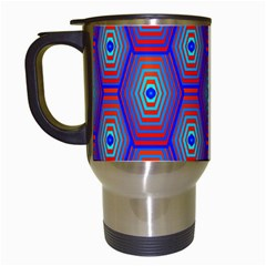 Red Blue Bee Hive Pattern Travel Mugs (white)