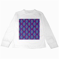Red Blue Bee Hive Pattern Kids Long Sleeve T-Shirts