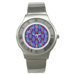 Red Blue Bee Hive Pattern Stainless Steel Watch