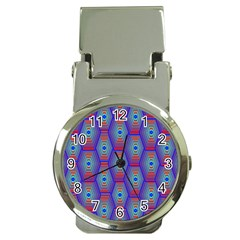 Red Blue Bee Hive Pattern Money Clip Watches