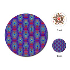 Red Blue Bee Hive Pattern Playing Cards (round)