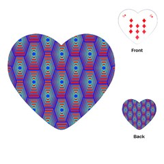 Red Blue Bee Hive Pattern Playing Cards (heart)