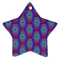 Red Blue Bee Hive Pattern Star Ornament (two Sides)
