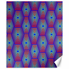 Red Blue Bee Hive Pattern Canvas 8  X 10
