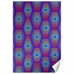 Red Blue Bee Hive Pattern Canvas 24  x 36