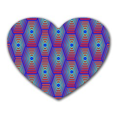 Red Blue Bee Hive Pattern Heart Mousepads