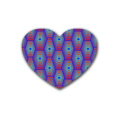 Red Blue Bee Hive Pattern Rubber Coaster (heart)