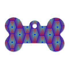 Red Blue Bee Hive Pattern Dog Tag Bone (one Side)