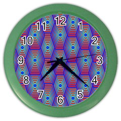 Red Blue Bee Hive Pattern Color Wall Clocks