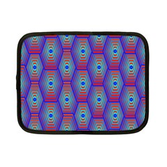 Red Blue Bee Hive Pattern Netbook Case (small)
