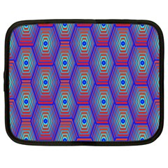 Red Blue Bee Hive Pattern Netbook Case (large)