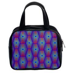 Red Blue Bee Hive Pattern Classic Handbags (2 Sides)