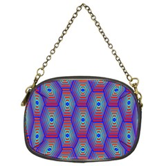 Red Blue Bee Hive Pattern Chain Purses (one Side)