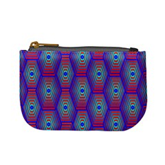 Red Blue Bee Hive Pattern Mini Coin Purses