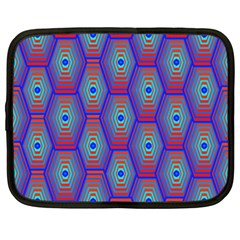 Red Blue Bee Hive Pattern Netbook Case (xxl)