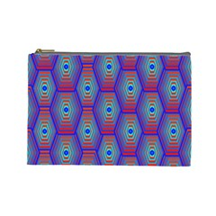 Red Blue Bee Hive Pattern Cosmetic Bag (Large)