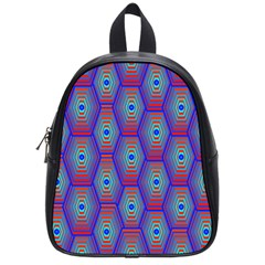 Red Blue Bee Hive Pattern School Bags (Small)