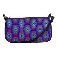 Red Blue Bee Hive Pattern Shoulder Clutch Bags