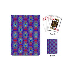 Red Blue Bee Hive Pattern Playing Cards (mini)