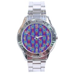 Red Blue Bee Hive Pattern Stainless Steel Analogue Watch