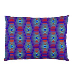 Red Blue Bee Hive Pattern Pillow Case (Two Sides)