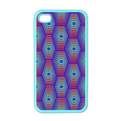 Red Blue Bee Hive Pattern Apple Iphone 4 Case (color)