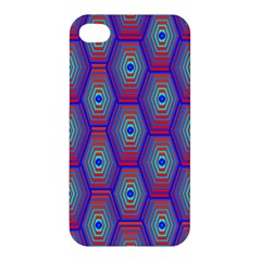 Red Blue Bee Hive Pattern Apple Iphone 4/4s Hardshell Case