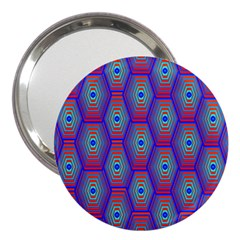 Red Blue Bee Hive Pattern 3  Handbag Mirrors