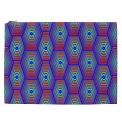 Red Blue Bee Hive Pattern Cosmetic Bag (xxl)
