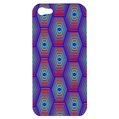 Red Blue Bee Hive Pattern Apple Iphone 5 Hardshell Case