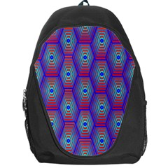 Red Blue Bee Hive Pattern Backpack Bag